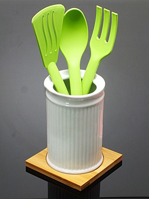 Mizzy Home Bambu Standlı Porselen Kaşıklık Renkli